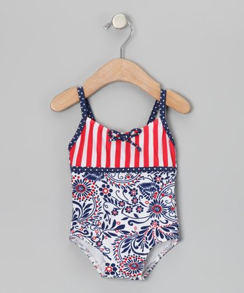 Blue & Red Born Free One-Piece - Infant, Toddler & Girls