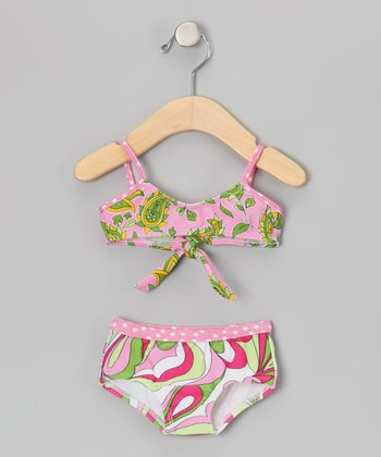 Pink & Green Retro Collage Bikini - Infant