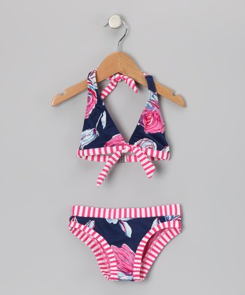Navy & Pink Bloom Halter Bikini - Girls