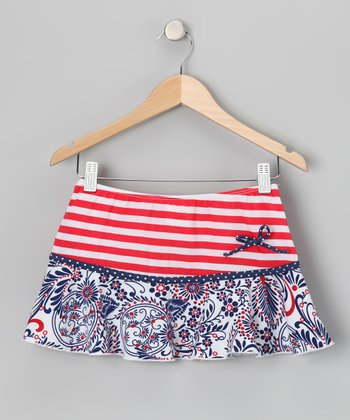 Blue & Red Born Free Skirt - Girls
