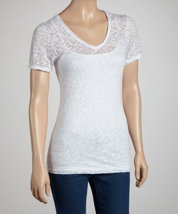 White Burnout V-Neck Tee