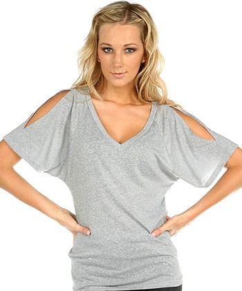 Silver Cutout V-Neck Tee - Women