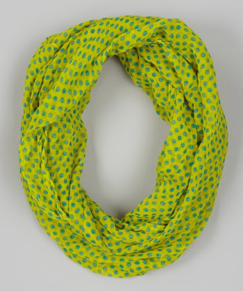 Yellow Polka Dot Infinity Scarf