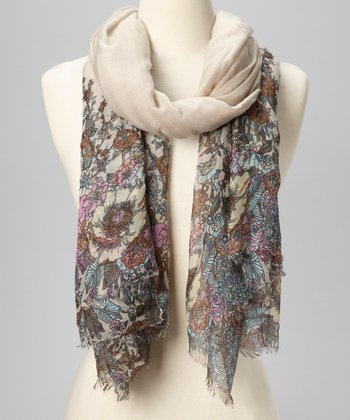 Taupe Soft Floral Scarf