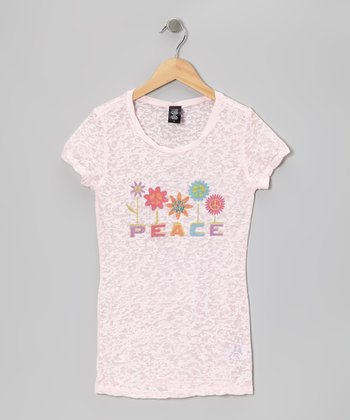 Pink 'Peace' Garden Short-Sleeve Tissue Tee