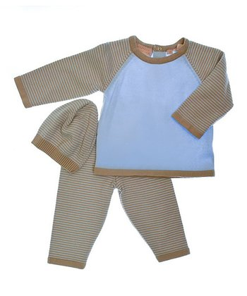 Blue & Tan Stripe Leggings Set - Infant