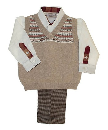 Tan Sweater Vest Set - Infant, Toddler & Boys