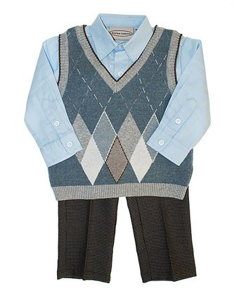 Blue Argyle Sweater Vest Set - Infant, Toddler & Boys