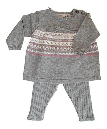 Gray & Pink Stripe Tunic & Leggings - Infant