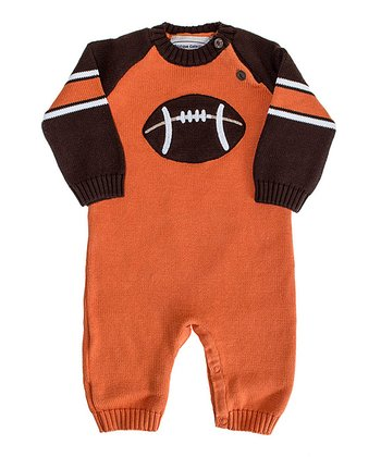 Orange & Brown Football Playsuit - Infant