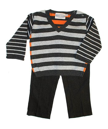 Gray & Orange Stripe Sweater & Pants - Infant, Toddler & Boys