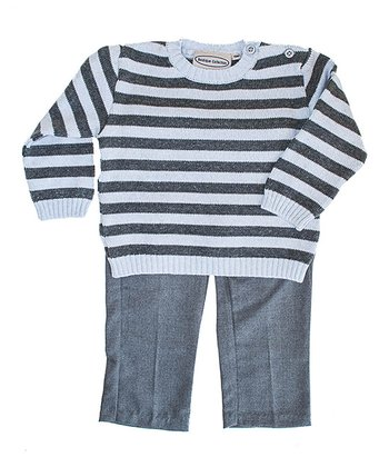 Gray & White Stripe Sweater & Pants - Infant, Toddler & Boys