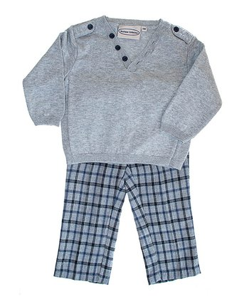 Gray V-Neck Sweater & Plaid Pants - Infant, Toddler & Boys
