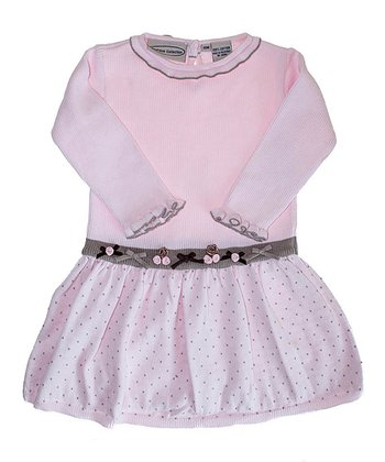 Pink & Gray Bow Dress - Infant, Toddler & Girls