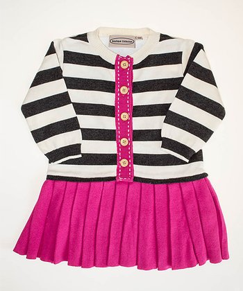 Gray & Fuchsia Stripe Pleated Dress - Infant, Toddler & Girls