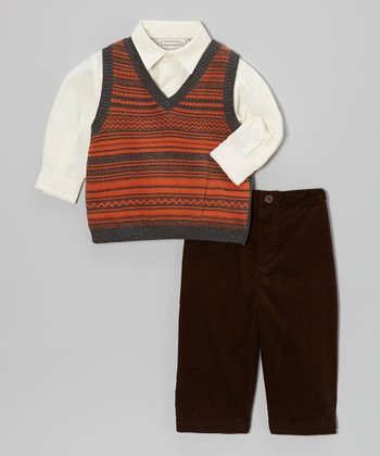 Orange & Gray Stripe Sweater Vest Set - Infant, Toddler & Boys