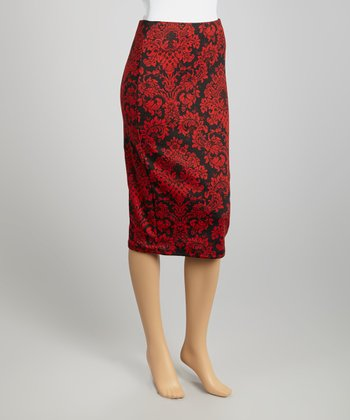 Red & Black Arabesque Pencil Skirt