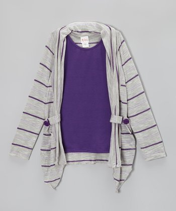 Purple Stripe Layered Cardigan