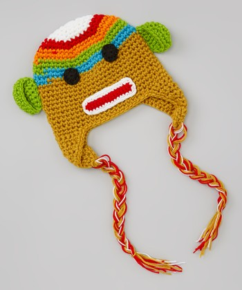 Rainbow Sock Monkey Earflap Beanie