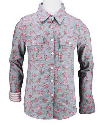 Light Blue Floral Zooey Button-Up - Girls