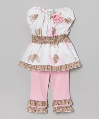 Pink & White Elaine Top & Ruffle Pants - Infant, Toddler & Girls