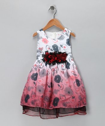 Red Floral Chiffon Dress - Toddler & Girls