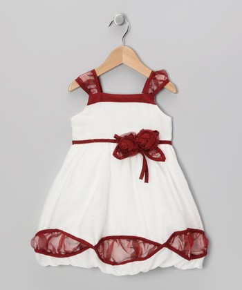 Red & White Sheer Cutaway Dress - Toddler & Girls