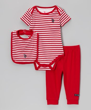 Engine Red Stripe Bodysuit Set - Infant