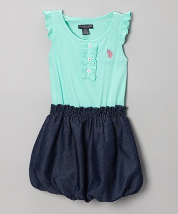 Frozen Aqua & Denim Angel-Sleeve Bubble Dress - Girls