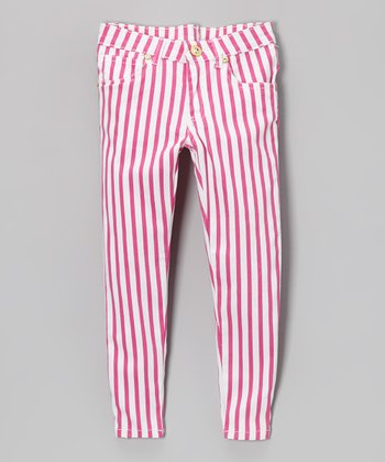 Pink Kite & White Stripe Pants - Toddler & Girls