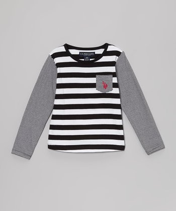 Black & White Stripe Long-Sleeve Tee - Girls