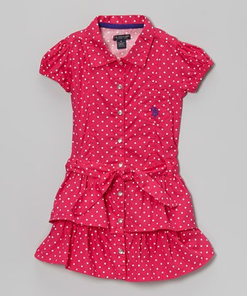 Berry Polka Dot Ruffle Sash Shirt Dress - Girls