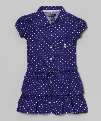 Plum Polka Dot Ruffle Sash Shirt Dress - Girls