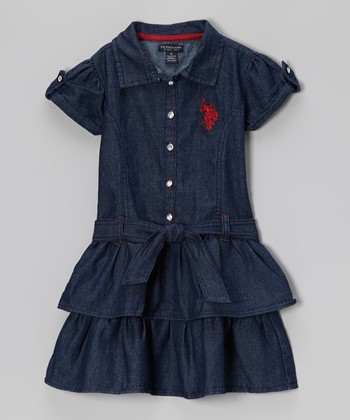 Deep Denim Ruffle Sash Shirt Dress - Girls