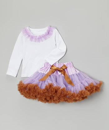 Lavender & Brown Ruffle Tee & Pettiskirt - Toddler & Girls