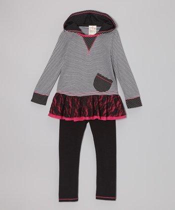 Black Stripe Lace Ruffle Tunic & Leggings - Toddler & Girls