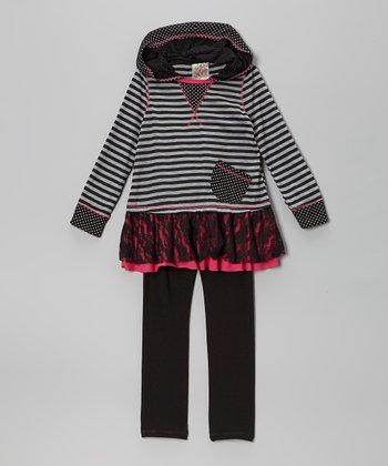 Gray & Pink Stripe Lace Ruffle Tunic & Leggings - Toddler & Girls
