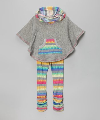 Heather Gray Stripe Poncho & Leggings - Toddler & Girls