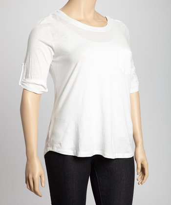 White Tab Sleeve Pocket Top - Plus
