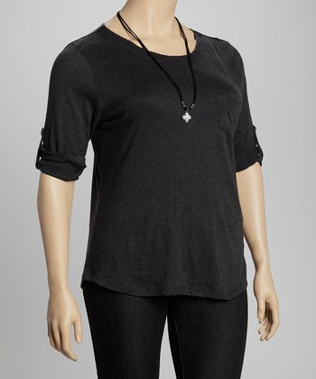 Charcoal Tab Sleeve Pocket Top - Plus