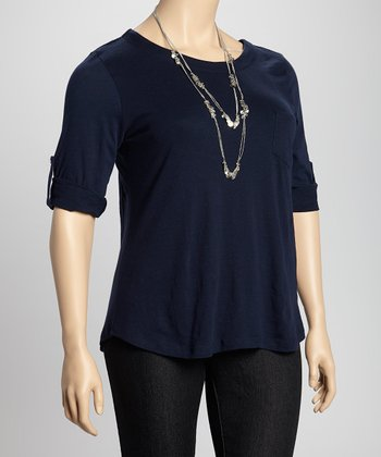 Navy Tab Sleeve Pocket Top - Plus