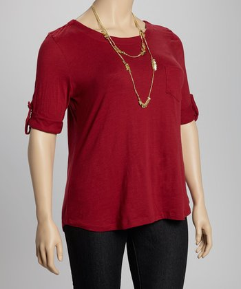 Burgundy Tab Sleeve Pocket Top - Plus