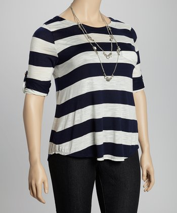 Navy & Ivory Stripe Tab Sleeve Top - Plus