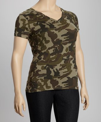 Dark Olive Camo V-Neck Tee - Plus