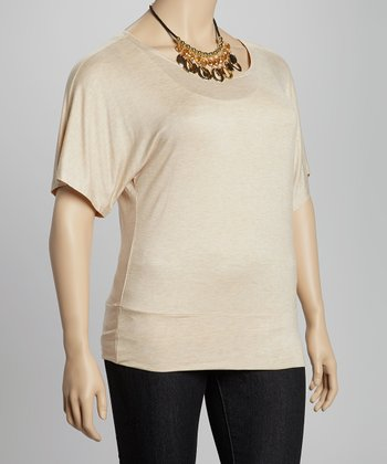 Beige Cape Sleeve Top - Plus