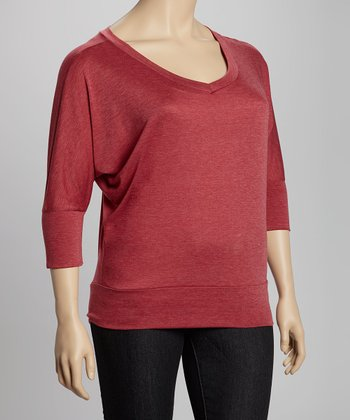 Burgundy Melange Three-Quarter Sleeve Top - Plus