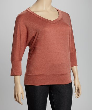 Rust Melange Three-Quarter Sleeve Top - Plus