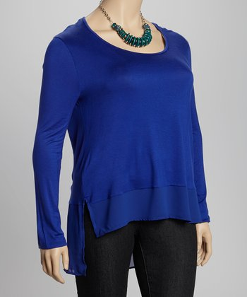 Bright Royal Blue Scoop Neck Top - Plus
