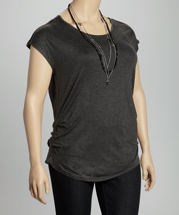 Charcoal Keyhole Rouched Scoop Neck Top - Plus