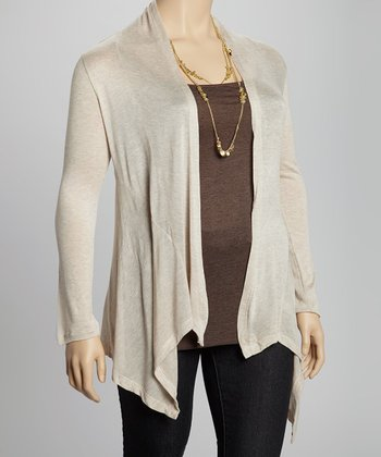 Heather Beige Skirted Open Cardigan - Plus